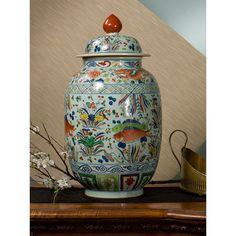 "DESSAU HOME | Multi-Colored Porcelain Fish Jar | 11""dia x 23.5""h | DH sku: D026 | $550.00 retail"