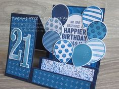 Balloon Adventures Balloon PopUp thinlits Large Numbers Side Step layout 2017 Occasions Stampin Up Yvonne Pree Pree Designs 21st Birthday Cards, Bday Cards, Handmade Birthday Cards, Birthday Card Pop Up, Balloon Birthday, 21 Cards, Kids Cards, Fun Fold Cards, Folded Cards