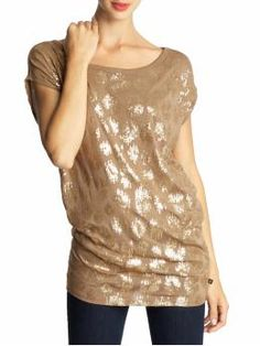 Ikat leopard sequin top by MM Kors  in dark camel