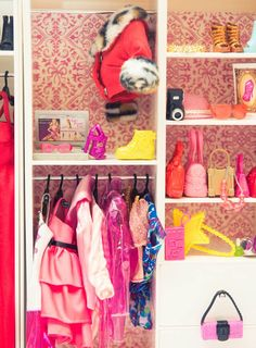 Can Barbie come out an play? via Coveteur xx Dressed to Death xx Barbie Wardrobe, Wardrobe Closet, Closet Space, Kids Closet Storage, Barbie Storage, Closet Shelving, Doll Closet, Pink Closet, Vera Wang Dress