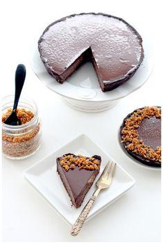 triple chocOlate hazelnut praline tart