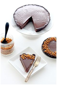 triple chocOlate hazelnut praline tart