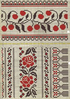 Dažādi raksti rūtiņu tehnikā - Rokdarbu grāmatas un dažādas shēmas Cross Stitch Fruit, Cross Stitch Borders, Cross Stitch Charts, Cross Stitch Designs, Cross Stitching, Cross Stitch Embroidery, Pillow Embroidery, Embroidery Patterns, Russian Cross Stitch