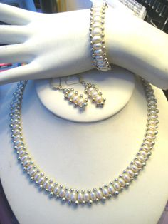 Love this contemporary twist on these pearls... I've always loved wearing pearls... Honora Pearls with Sterling Silver Bead Set Necklace Earrings Bracelet LB #Honora #pearls #jewelry