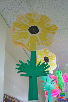 hand print sunflower