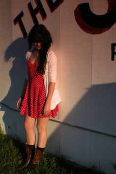 White Cardigan + Red Sweetheart Polka Dot Dress + Brown Combat Boots + Black Socks
