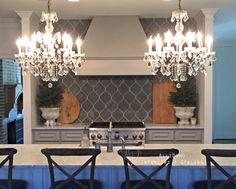 Greenville, SC kitchen designed by AlliDomo Interiors. @AlliDomo_Interiors  {Avente cement tile backsplash. Restoration Hardware chandeliers.}