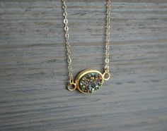 Rainbow Druzy Necklace- gold filled, layering, sparkle, party, new years necklace