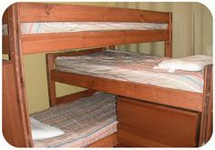 "Sew fitted corners for the flat sheet and blanket for a bunk bed to make the bed easier.  Better yet, sew the feet and the ""wall side"" of the flat and fitted sheets together as well to create inseparable sheets.  So easy the kids can make the bed!"