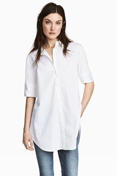 Lange overhemdblouse - Wit - DAMES | H&M NL 1