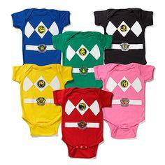 ThinkGeek is selling these Power Ranger Onesies. More like Goo, Goo Power Rangers!