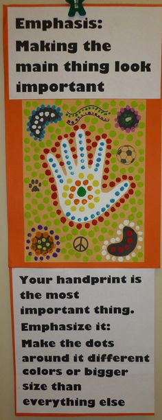 Ms Maggie Mo's Aboriginal dot painting example explaining emphasis