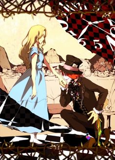 """((this will be like Alice in wonderland but reversed.Im Alice))""""Hello,wanderer,""""I say,""""You must be new around here.""""""""Of coarse I am.""""""""Alice,""""I say with a wink.""""Well I'm the Hatter.Can you help me get to the red queens palace? Lewis Carroll, Adventures In Wonderland, Alice In Wonderland, Art Anime, Manga Anime, Mad Hatter Anime, Manga Couples, Chesire Cat, Alice Madness Returns"""