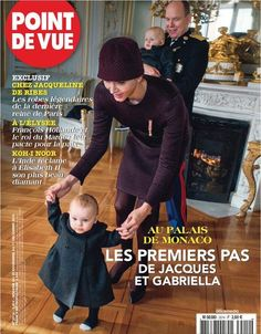 Prince Albert II of Monaco and Princess Charlene of Monaco with their children Princess Gabriela and Prince Jacques on the cover of this week's edition of Point de Vue. The image was taken in palace during the Monaco National Day Celebrations on November 19, 2015.