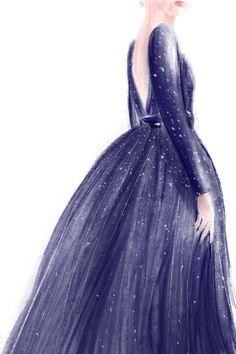 #drawing #dress #color #blue #artwork #sketch #illustration #fashion #design #graphic #beauty