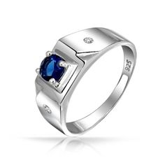Fathers Day Gifts Bling Jewelry Round Solitaire Blue Sapphire Color CZ Mens Engagement Ring 925 Silver: Jewelry