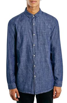 Topman Topman Slim Fit Slub Denim Shirt available at #Nordstrom
