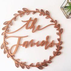 The Javiers   We can't get enough of these custom wreaths! . . . #letterstou #handdrawn #handlettering #calligraphy #custom #wreath #lasercut #etsy #etsyseller #biprnetwork #biprtastemaker #weddingdecor