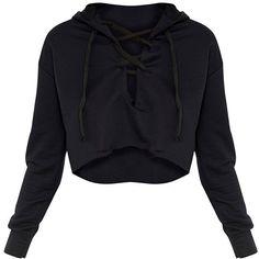 Saige Black Lace Up Cropped Hoodie (€15) ❤ liked on Polyvore featuring tops, hoodies, crop top, crop top/t-shirt, jackets, sweatshirt hoodies, lace up hoodies, hoodie top, hooded pullover and lace-up tops