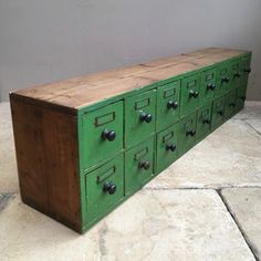 Victorian Pine Bank of Sixteen Drawers apothecary Recycled Furniture, Industrial Furniture, Painted Furniture, Kitchen Table Chairs, Vintage Storage, Desk With Drawers, Craft Storage, Cubbies, Rustic