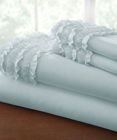 Look at this #zulilyfind! Ice Blue Ruffle-Hem Sheet Set by Colonial Home Textiles #zulilyfinds