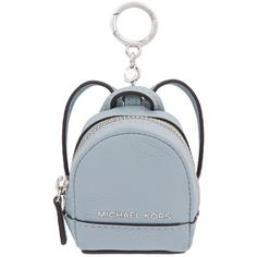 MICHAEL Michael Kors Rhea Leather Backpack Key Charm (£55) ❤ liked on Polyvore featuring bags, backpacks, michael michael kors, leather knapsack, leather backpack, blue backpack and backpack bags
