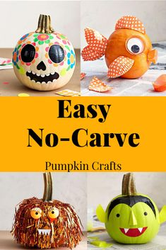 Get into the Halloween spirit with these no-knife-needed pumpkin painting and decorating; perfect for little helping hands. Get into the Halloween spirit with these no-knife-needed pumpkin painting and decorating; perfect for little helping hands. Halloween Tags, Halloween Party Supplies, Diy Halloween Decorations, Spirit Halloween, Halloween Pumpkins, Halloween Crafts, Halloween Ideas, Vintage Halloween, Pumpkin Decorating Contest