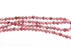 Half Strand Polished Banded RHODOCHROSITE Round Beads . 6mm . genuine gemstones . non-faceted, rose pink grh0009