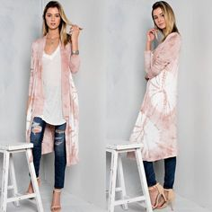 Sunburst Tie Dye Print Cardigan in PINK 95% Polyester 5% Spandex. Raw hem edges and lightweight. MADE IN THE USA. Sweaters Cardigans