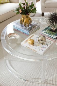 Ava Modern Round Clear Glass Acrylic Coffee Table