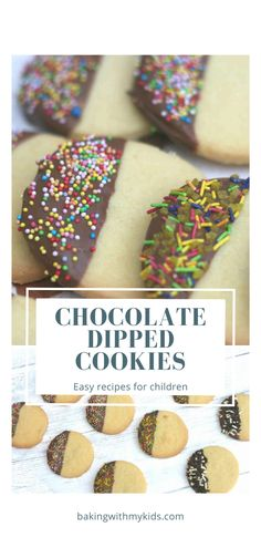 These simple chocolate dipped cookies are a great, fun bake for children. #chocolate #baking with kids #sprinkles #cookies #biscuits #shortbread #easy #recipe #easy recipe