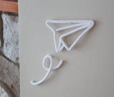 Avion de papier en tricotin - Avion en origami - Décoration murale