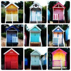 Beach huts Beach Cabana, Seaside Beach, Beach Huts, Beach Picnic, Beach Cottages, Tiny Beach House, Beach Cottage Style, Beach House Decor, Surf Shack
