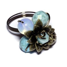 Flower Ring  Light Turquoise by AetherGarden on Etsy, $19.00