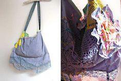 Faded Blue Flower Bag Hand Dyed Linen Denim by AllThingsPretty