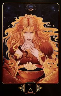 Seven of Fire, from the Dreams Of Gaia Oracle Card deck, by Ravynne Phelan