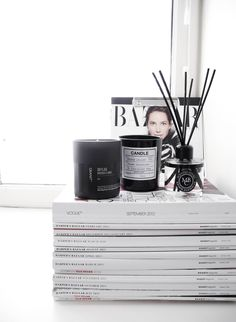 #homedecor room diffuser, candles, magazines, harper's bazaar