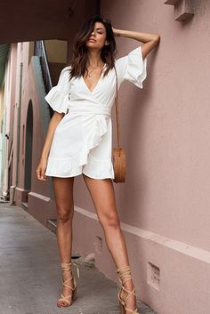 White frill linen wrap dress with nude lace up heels and rattan basket bag. So perfect for Summer! #summeroutfit #whitedress #whitedressoutfit #whitedresssummeroutfit