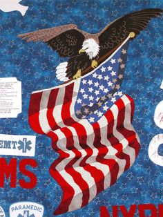 12 photos  Victims Quilt - Detail of Eagle Soaring with American Flag.       America's 9-11 Memorial Quilts