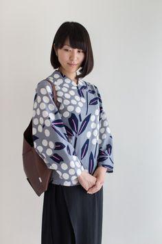 Nagi Jiban Kimono Sleeve Tops Chizimi Cotton Nandina.