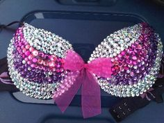 bedazzled bra for crop tees. Bedazzled Bra, Bling Bra, Rhinestone Bra, Breast Cancer Bras, Breast Cancer Awareness, Decorated Bras, Cute Bras, Rave Wear, Victoria Secret