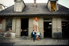 Love this New Orleans street engagement in the heart of the French Quarter! | oldest bar, Blacksmiths, New Orleans engagement, French Quarter engagement photos | Jim Kennedy Photographers