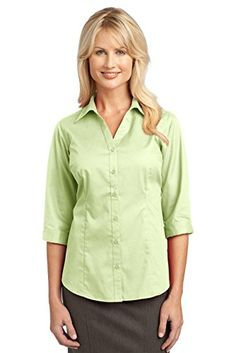 Port Authority Womens IMPROVED 34 Sleeve Blouse S Light Green *** You can get additional details at the image link.Note:It is affiliate link to Amazon.