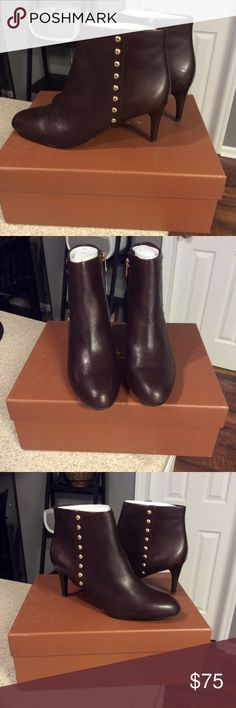 COACH Hickory Ankle Boots New! Never worn. Beautiful brown leather boots. 3 inch heel. No trades! Coach Shoes Ankle Boots & Booties