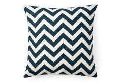 Teal/cream chevron pillow