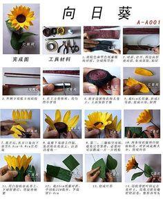 pirrka paper sunflower (tutorial) Origami 3d, Origami And Quilling, Quilling Cards, Paper Quilling, Paper Flower Art, How To Make Paper Flowers, Paper Flower Tutorial, Flower Crafts, Handmade Flowers