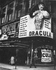 Dracula cool vintage photo of the cinema billboards to advertise this spooky movie event
