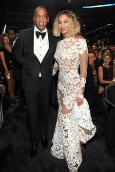 Jay-Z and Beyonce attend the 56th Grammy Awards at Staples Center in Los Angeles, California.