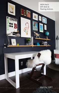 Pinterest Challenge: Bs blue wall reveal - we built a desk and some shelves and made a gallery wall