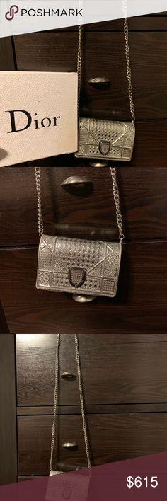Christian Dior Small Clutch Metallic purse clutch Authentic Christian Dior  diorama small metallic silver clutch 0d6daa599b478